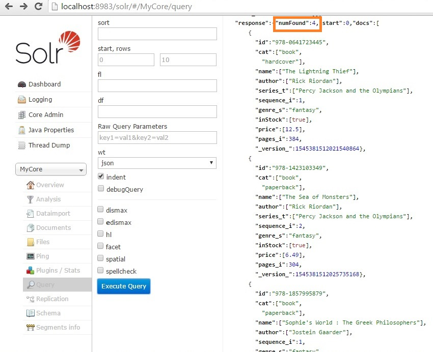 solr books json query result in admin console