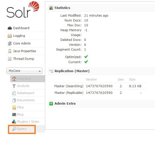 Solr core query option in admin console