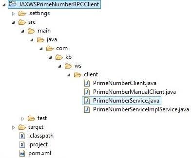 JAXWSPrimeNumberRPCClientProjStructure