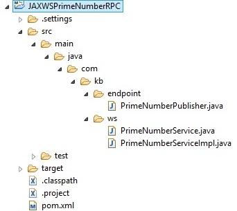 JAXWSPrimeNumberRPCServiceProjStructure