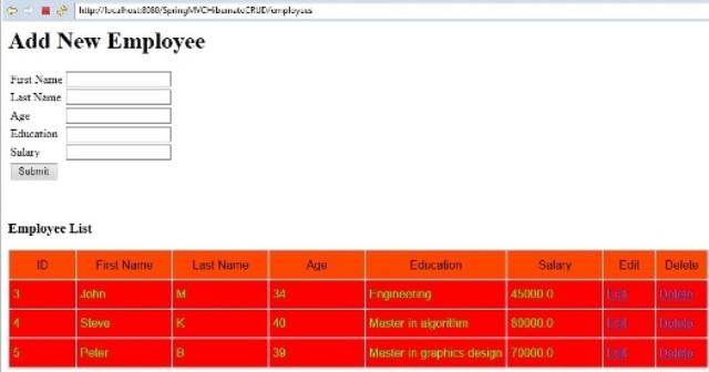 Spring MVC with Hibernate CRUD example | Javainsimpleway